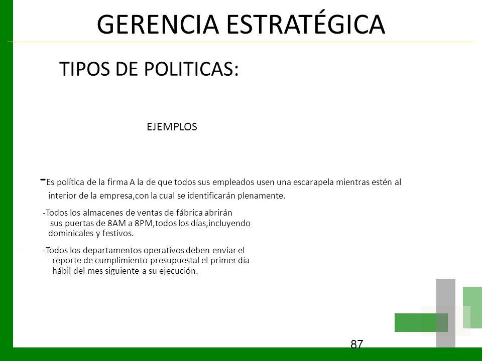 GERENCIA ESTRATÉGICA TIPOS DE POLITICAS: EJEMPLOS - Es política de la firma A la de que todos sus empleados usen una escarapela mientras estén al inte