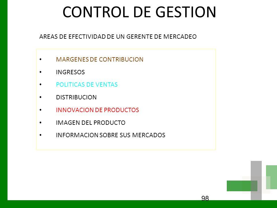CONTROL DE GESTION AREAS DE EFECTIVIDAD DE UN GERENTE DE MERCADEO MARGENES DE CONTRIBUCION INGRESOS POLITICAS DE VENTAS DISTRIBUCION INNOVACION DE PRO