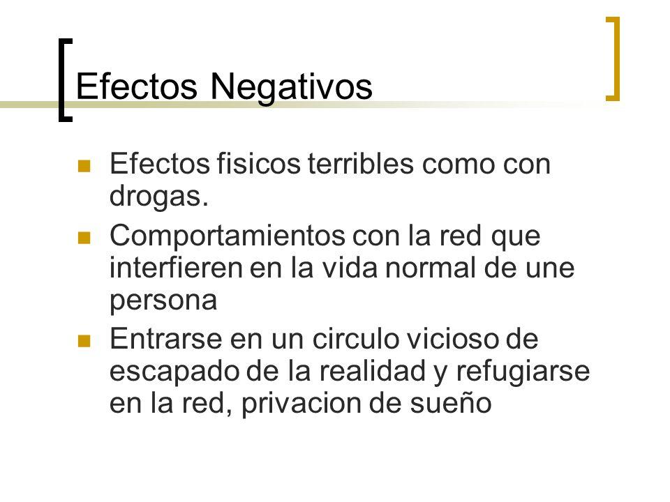 Efectos Negativos Efectos fisicos terribles como con drogas. Comportamientos con la red que interfieren en la vida normal de une persona Entrarse en u