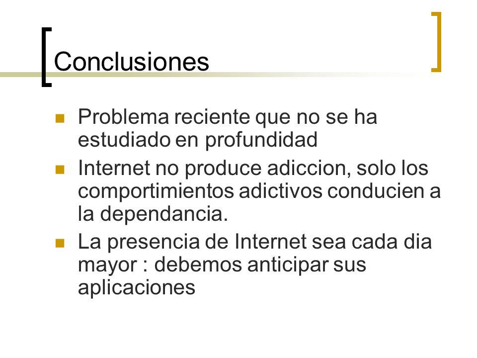 Conclusiones Problema reciente que no se ha estudiado en profundidad Internet no produce adiccion, solo los comportimientos adictivos conducien a la d