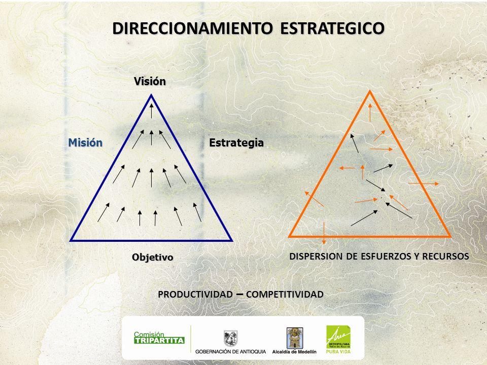 Visión MisiónEstrategia Objetivo DISPERSION DE ESFUERZOS Y RECURSOS PRODUCTIVIDAD – COMPETITIVIDAD DIRECCIONAMIENTO ESTRATEGICO
