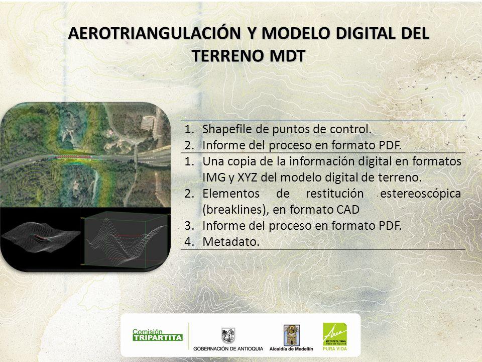 1.Shapefile de puntos de control. 2.Informe del proceso en formato PDF. 1.Una copia de la información digital en formatos IMG y XYZ del modelo digital