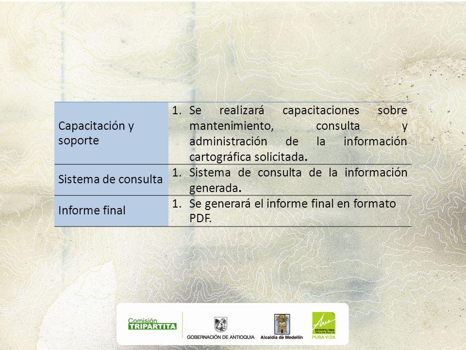 Capacitación y soporte 1.Se realizará capacitaciones sobre mantenimiento, consulta y administración de la información cartográfica solicitada. Sistema
