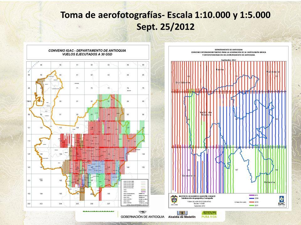 Toma de aerofotografías- Escala 1:10.000 y 1:5.000 Sept. 25/2012