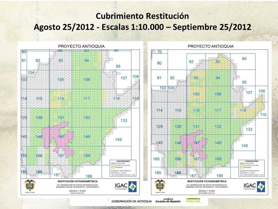 Cubrimiento Restitución Agosto 25/2012 - Escalas 1:10.000 – Septiembre 25/2012