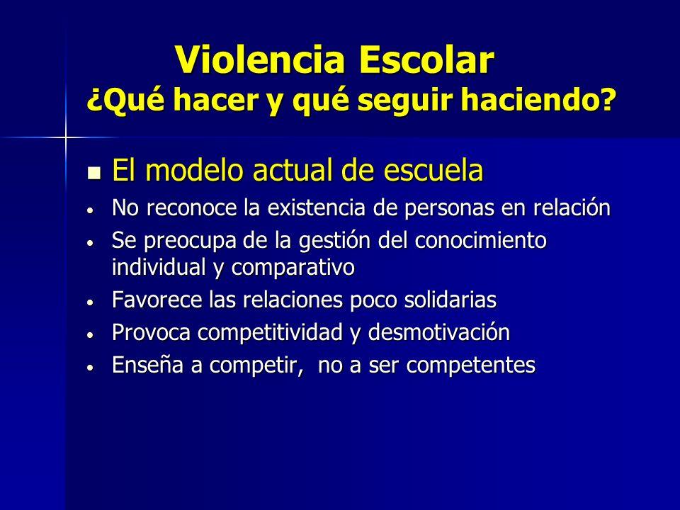 Violencia Escolar ¿Qué hacer y qué seguir haciendo? Violencia Escolar ¿Qué hacer y qué seguir haciendo? El modelo actual de escuela El modelo actual d