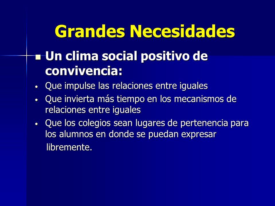 Grandes Necesidades Grandes Necesidades Un clima social positivo de convivencia: Un clima social positivo de convivencia: Que impulse las relaciones e