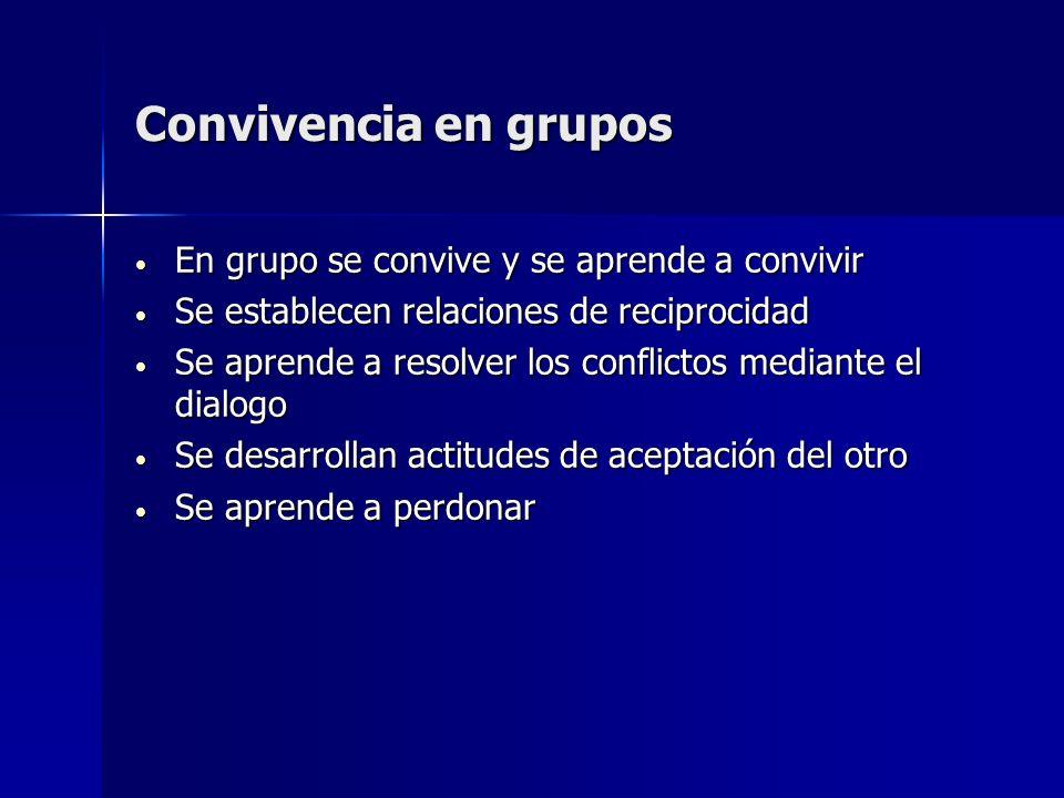Convivencia en grupos En grupo se convive y se aprende a convivir En grupo se convive y se aprende a convivir Se establecen relaciones de reciprocidad
