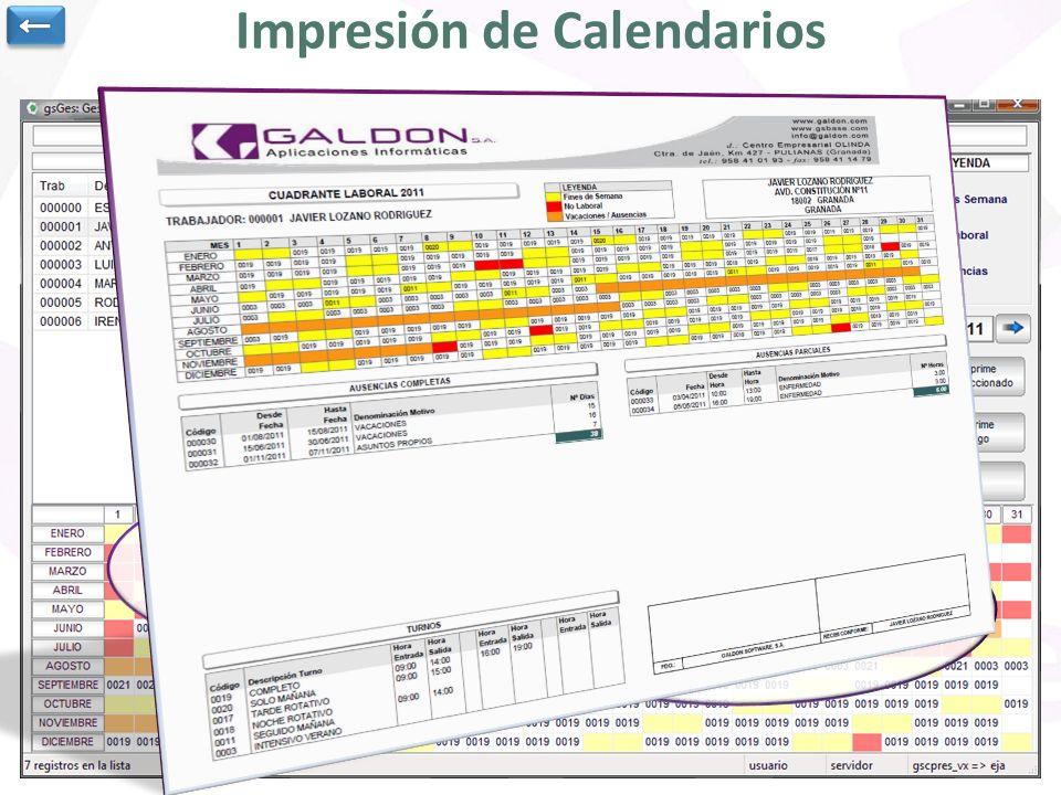 Edición e Impresión de un calendario completo de cada persona. Se selecciona una determinada persona de la lista y nos muestra todas las ausencias tan
