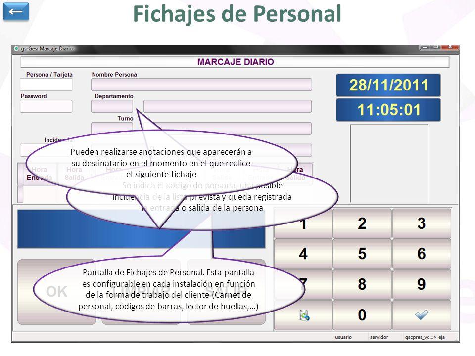Pantalla de Fichajes de Personal. Esta pantalla es configurable en cada instalación en función de la forma de trabajo del cliente (Carnet de personal,