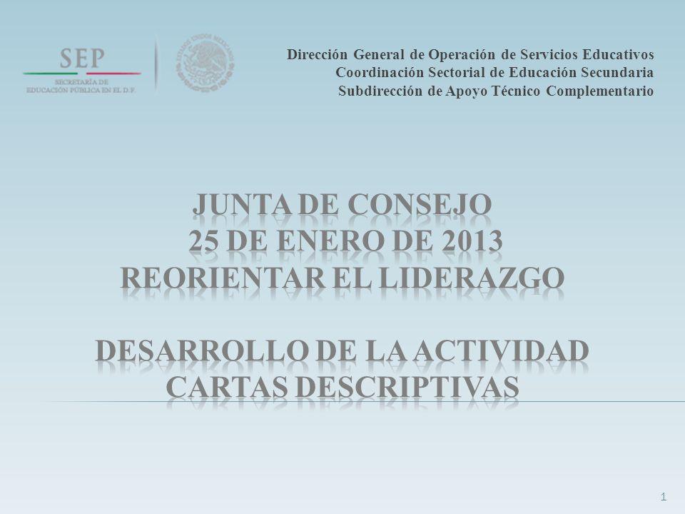 1 Dirección General de Operación de Servicios Educativos Coordinación Sectorial de Educación Secundaria Subdirección de Apoyo Técnico Complementario
