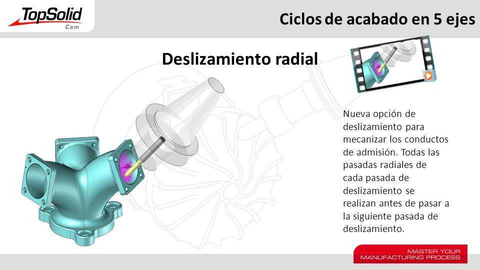 Ciclos de acabado en 5 ejes Deslizamiento radial Nueva opción de deslizamiento para mecanizar los conductos de admisión. Todas las pasadas radiales de