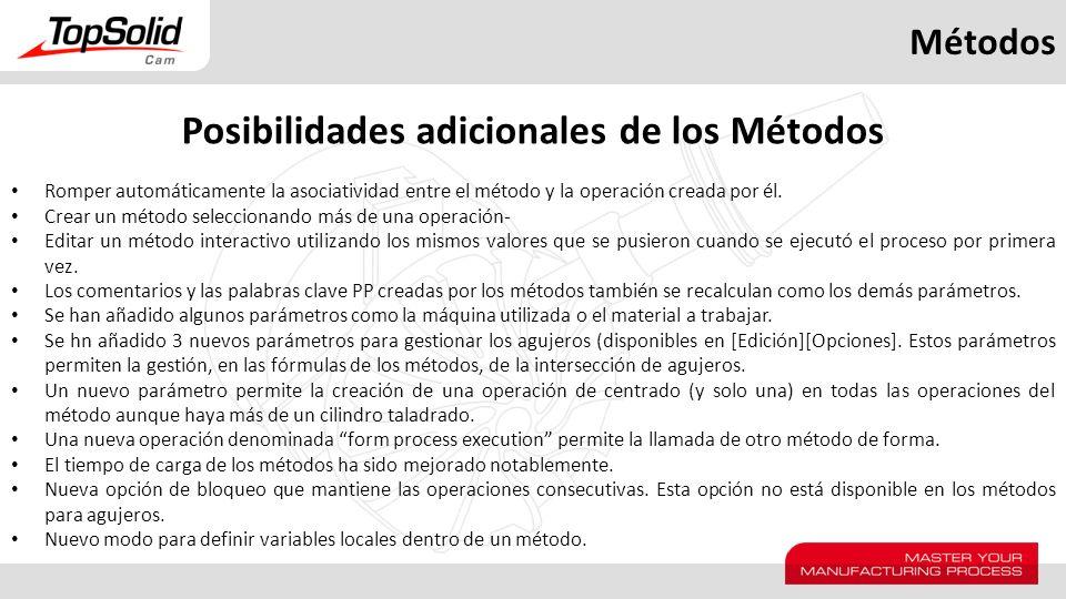Métodos Posibilidades adicionales de los Métodos Romper automáticamente la asociatividad entre el método y la operación creada por él. Crear un método