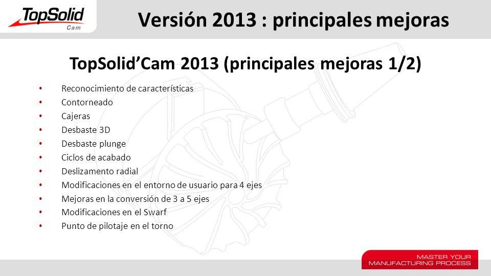 Versión 2013 : principales mejoras Reconocimiento de características Contorneado Cajeras Desbaste 3D Desbaste plunge Ciclos de acabado Deslizamento ra