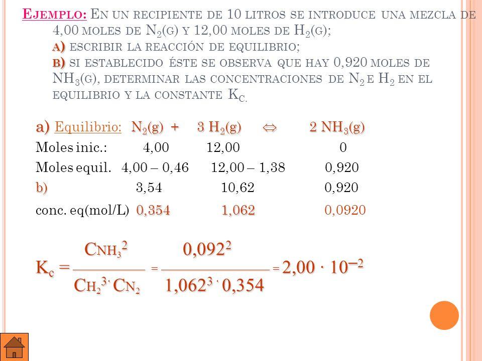 E JERCICIO B: E N UN RECIPIENTE DE 250 M L SE INTRODUCEN 3 G DE PC L 5, ESTABLECIÉNDOSE EL EQUILIBRIO : PC L 5 ( G ) PC L 3 ( G ) + C L 2 ( G ).