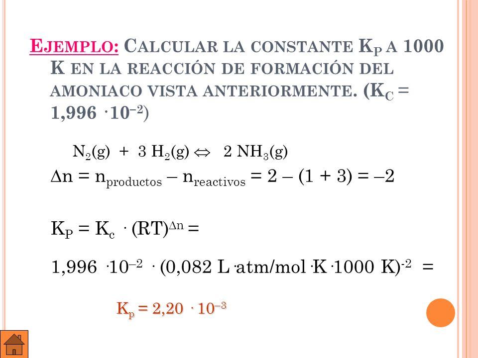 E JERCICIO : L A CONSTANTE DE EQUILIBRIO DE LA REACCIÓN : N 2 O 4 2 NO 2 VALE 0,671 A 45 º C.