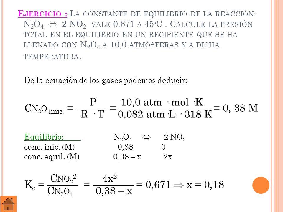 Equilibrio: N 2 O 4 2 NO 2 conc.inic. (M) 0,38 0 conc.