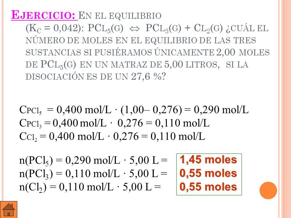 E JERCICIO : A 450 º C Y 10,0 ATM DE PRESIÓN EL NH 3 ( G ) ESTÁ DISOCIADO EN UN 95,6 % SEGÚN LA REACCIÓN : 2 NH 3 ( G ) N 2 ( G ) + 3 H 2 ( G ).