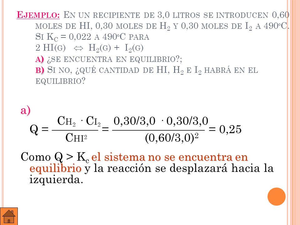 B ) B ) ¿ QUÉ CANTIDAD DE HI, H 2 E I 2 HABRÁ EN EL EQUILIBRIO .