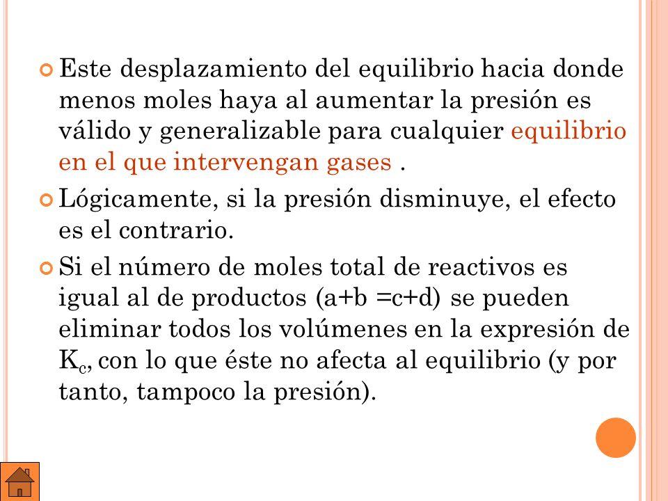 A ) B ) E JEMPLO : U NA MEZCLA GASEOSA CONSTITUIDA INICIALMENTE POR 3,5 MOLES DE HIDRÓGENO Y 2,5 DE YODO, SE CALIENTA A 400 º C CON LO QUE AL ALCANZAR EL EQUILIBRIO SE OBTIENEN 4,5 MOLES DE HI, SIENDO EL VOLUMEN DEL RECIPIENTE DE REACCIÓN DE 10 LITROS.