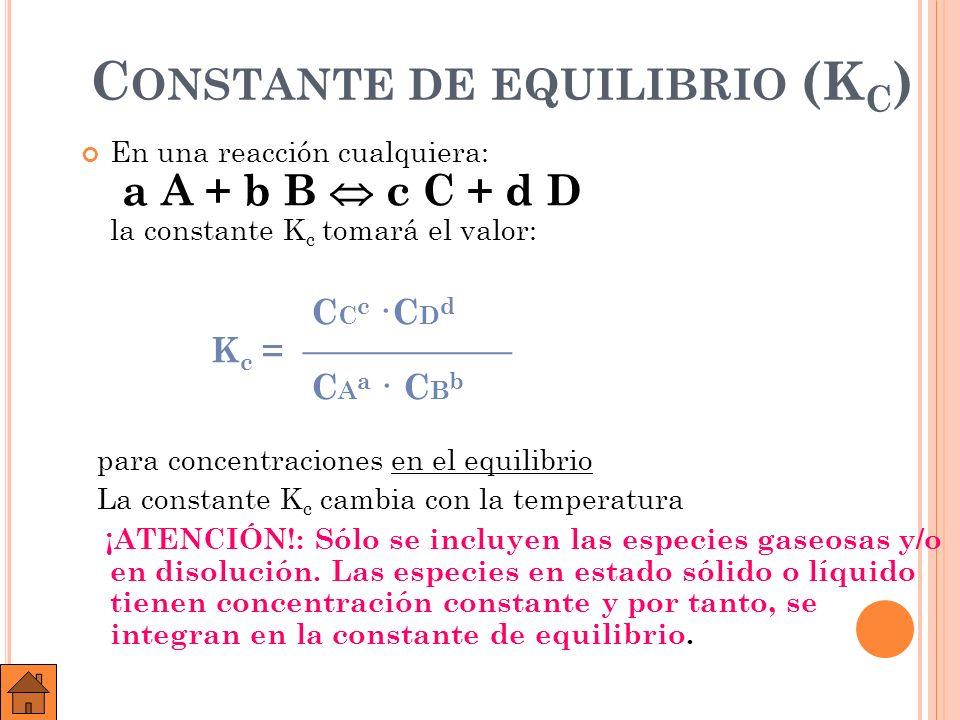 C ONSTANTE DE EQUILIBRIO (K C ) En la reacción anterior: H 2 (g) + I 2 (g) 2 HI (g) C HI 2 K c = C H 2 · C I 2 El valor de K C, dada su expresión, depende de cómo se iguale la reacción.