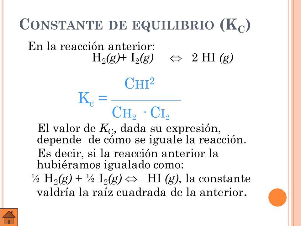 E JEMPLO : : T ENGAMOS EL EQUILIBRIO : 2 SO 2 ( G ) + O 2 ( G ) 2 SO 3 ( G ).