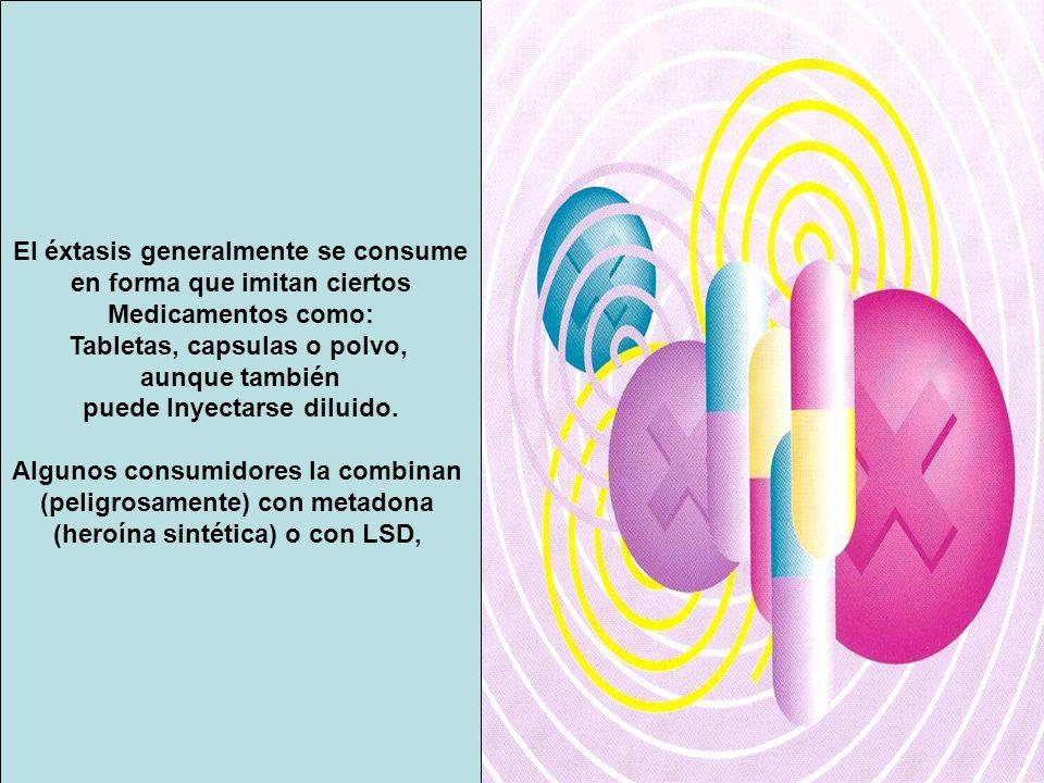 El éxtasis generalmente se consume en forma que imitan ciertos Medicamentos como: Tabletas, capsulas o polvo, aunque también puede Inyectarse diluido.