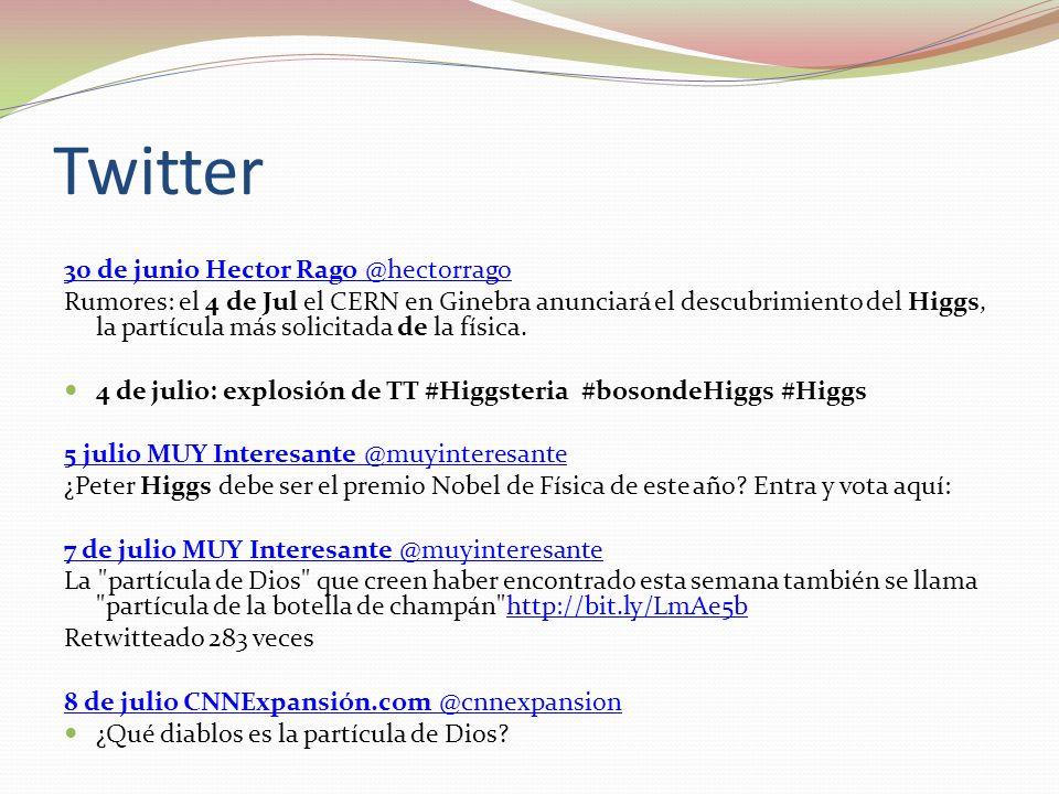 Twitter 30 de junio Hector Rago @hectorrago Rumores: el 4 de Jul el CERN en Ginebra anunciará el descubrimiento del Higgs, la partícula más solicitada