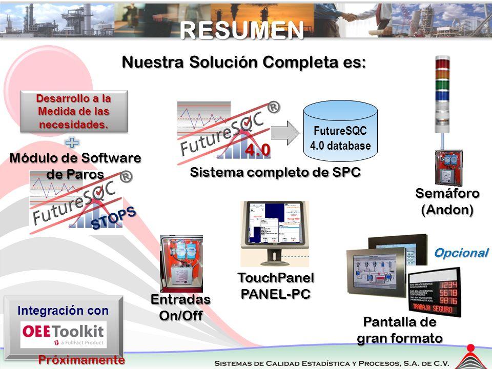 RegresarRESUMEN Semáforo(Andon) TouchPanelPANEL-PC Nuestra Solución Completa es: Pantalla de gran formato Opcional 4.0 FutureSQC 4.0 database Sistema