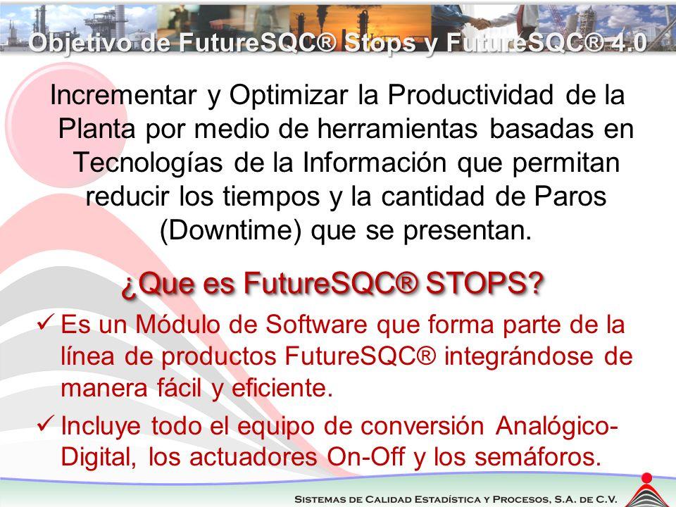 Regresar Componentes de FutureSQC® STOPS Elementos que conforman la solución: 1.ANDON – Sistema de Semáforo de Luces de 3, 4 o 5 colores (Conectado a una PC y al Sistema) 2.Captura de tiempos de paros (Inicio – Final - Total) Solamente por Software o por Hardware y Software.