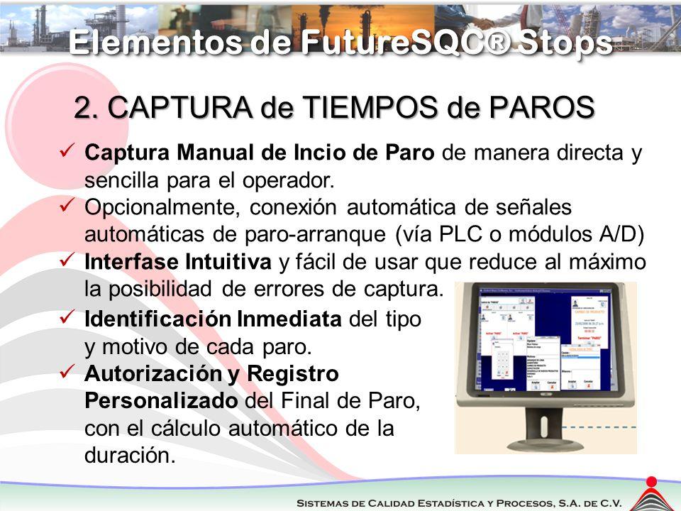Regresar Elementos de FutureSQC® Stops 2. CAPTURA de TIEMPOS de PAROS Captura Manual de Incio de Paro de manera directa y sencilla para el operador. O