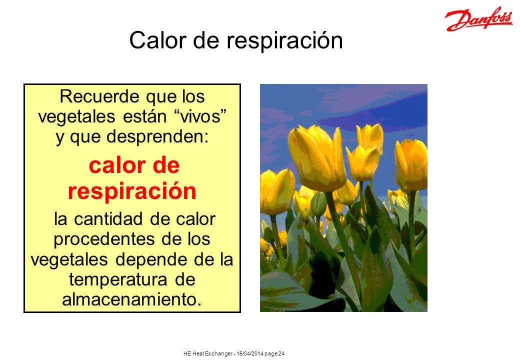 HE Heat Exchanger - 15/04/2014 page 24 Recuerde que los vegetales están vivos y que desprenden: calor de respiración la cantidad de calor procedentes
