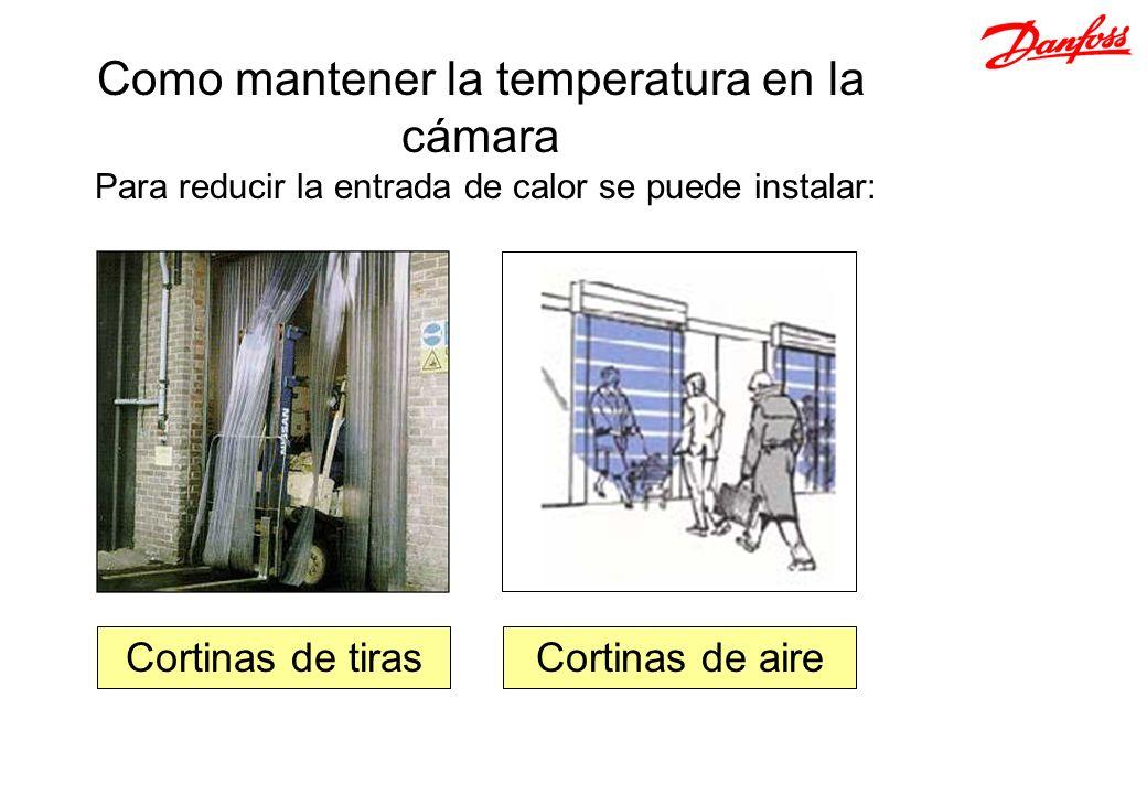 Para reducir la entrada de calor se puede instalar: Como mantener la temperatura en la cámara Cortinas de aireCortinas de tiras