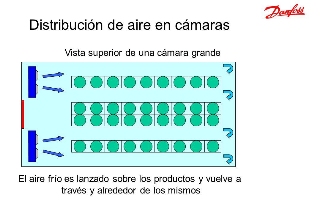 Vista superior de una cámara grande El aire frío es lanzado sobre los productos y vuelve a través y alrededor de los mismos Distribución de aire en cá