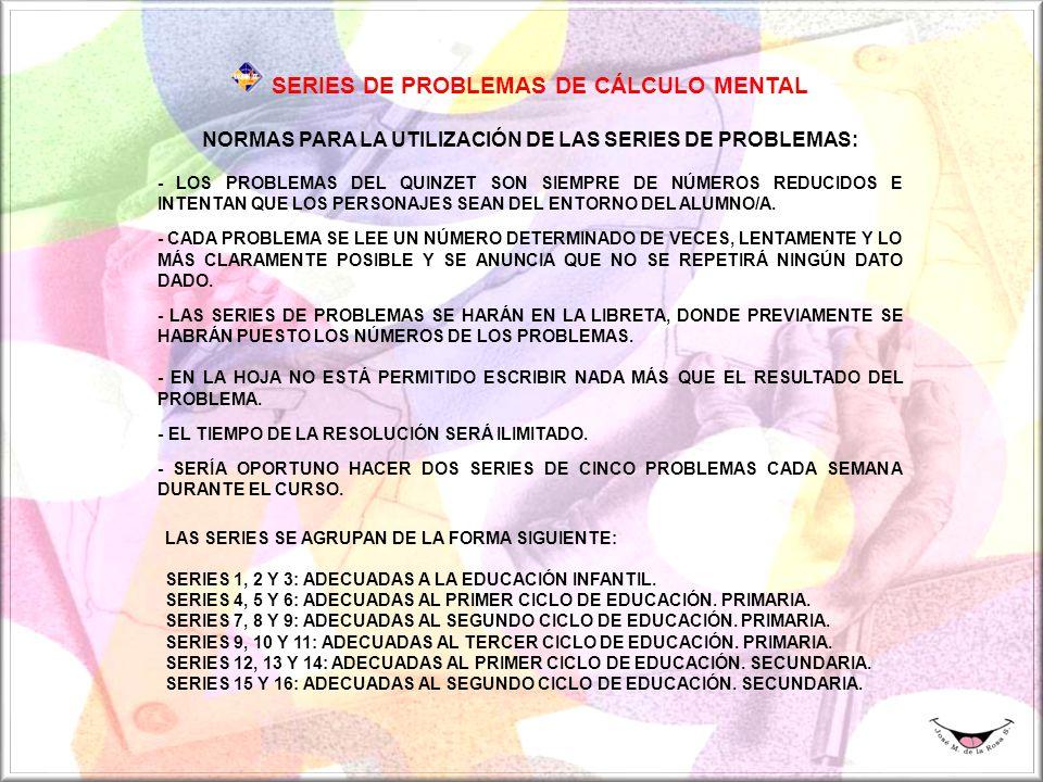 SERIES DE PROBLEMAS DE CÁLCULO MENTAL NORMAS PARA LA UTILIZACIÓN DE LAS SERIES DE PROBLEMAS: - LOS PROBLEMAS DEL QUINZET SON SIEMPRE DE NÚMEROS REDUCIDOS E INTENTAN QUE LOS PERSONAJES SEAN DEL ENTORNO DEL ALUMNO/A.