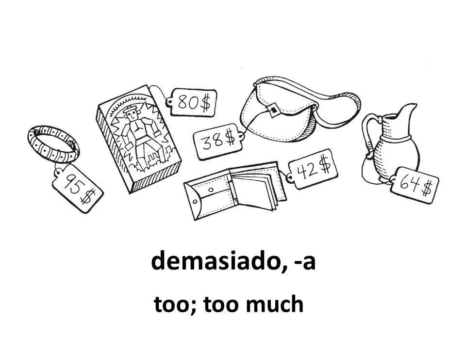 demasiado, -a too; too much
