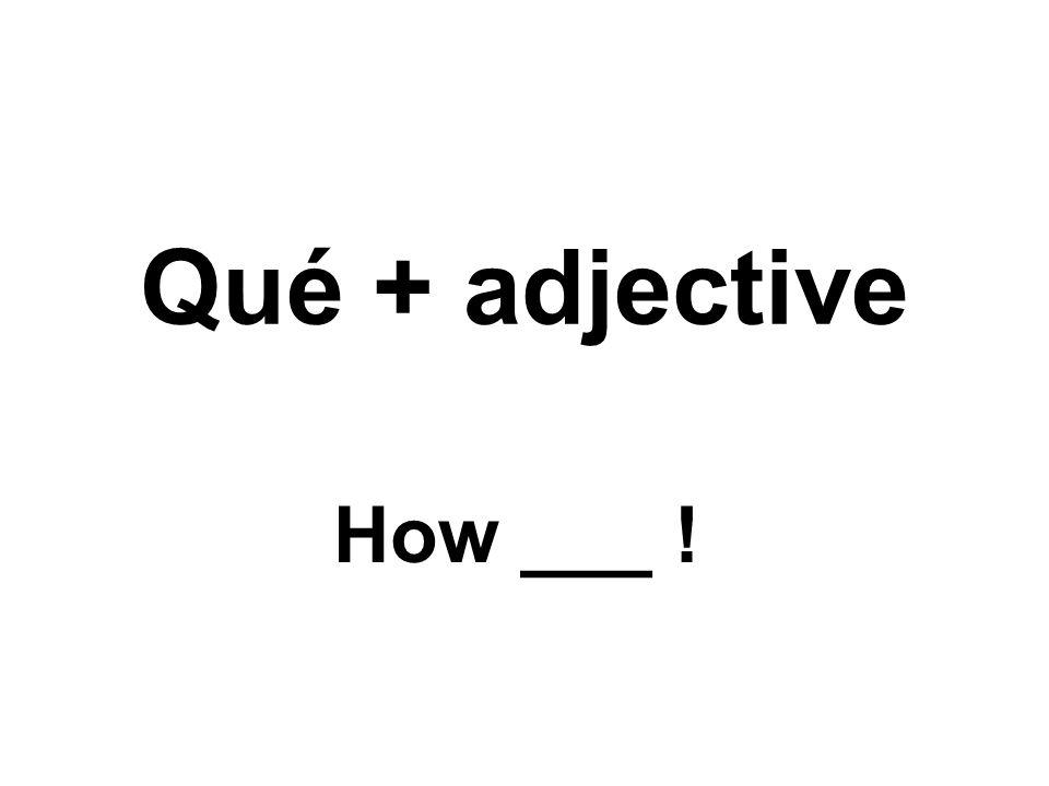 Qué + adjective How ___ !
