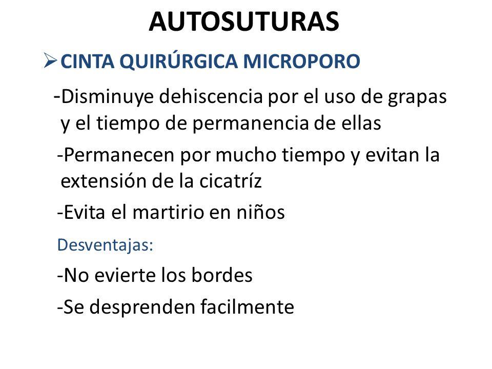 AUTOSUTURAS CINTA QUIRÚRGICA MICROPORO - Disminuye dehiscencia por el uso de grapas y el tiempo de permanencia de ellas -Permanecen por mucho tiempo y