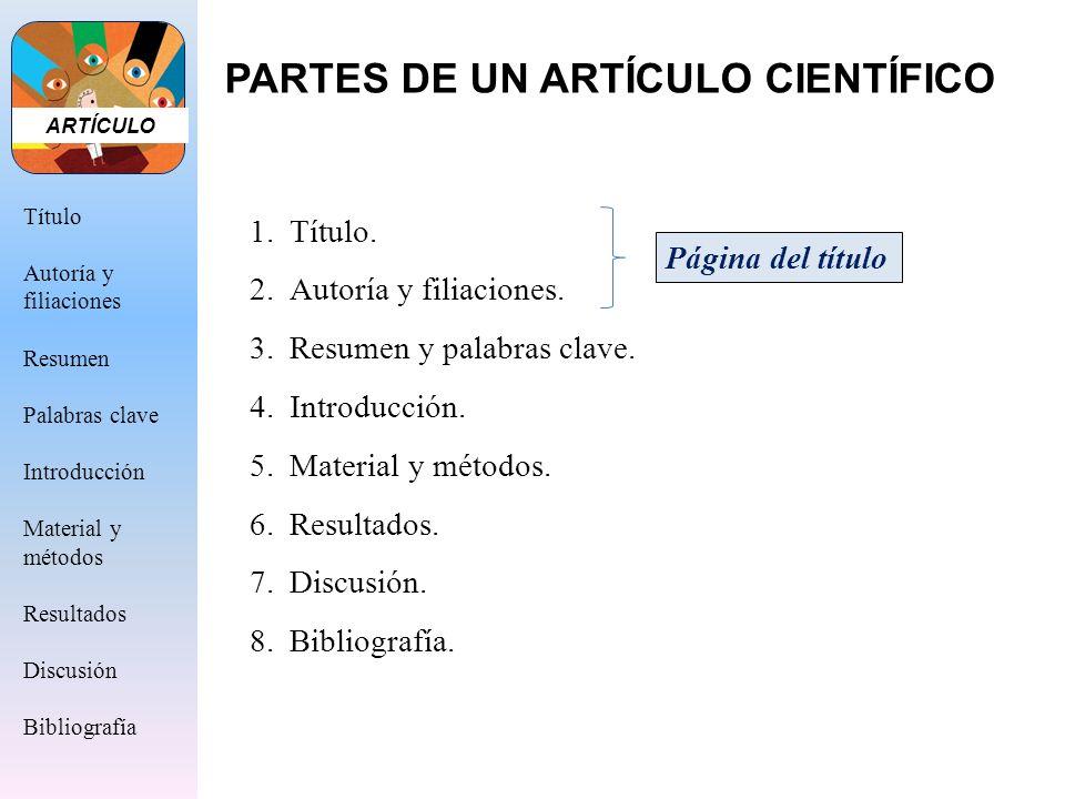 PARTES DE UN ARTÍCULO CIENTÍFICO 1.Título. 2.Autoría y filiaciones. 3.Resumen y palabras clave. 4.Introducción. 5.Material y métodos. 6.Resultados. 7.