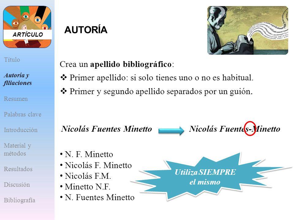 N. F. Minetto Nicolás F. Minetto Nicolás F.M. Minetto N.F. N. Fuentes Minetto Crea un apellido bibliográfico: Primer apellido: si solo tienes uno o no