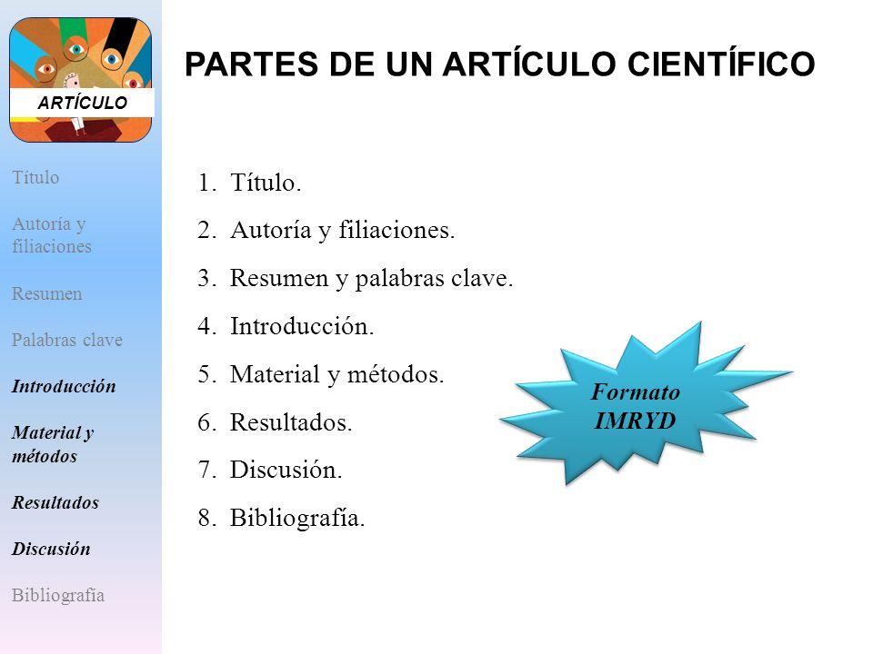 1.Título. 2.Autoría y filiaciones. 3.Resumen y palabras clave. 4.Introducción. 5.Material y métodos. 6.Resultados. 7.Discusión. 8.Bibliografía. Format