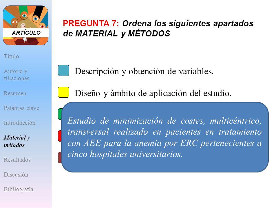 A.Descripción y obtención de variables. B.Diseño y ámbito de aplicación del estudio. C.Criterios de inclusión/exclusión. D.Análisis estadístico. E.Apr