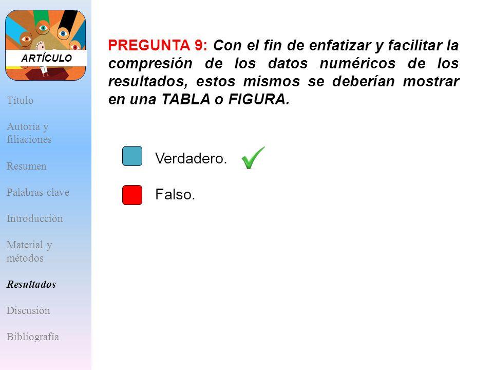 PREGUNTA 9: Con el fin de enfatizar y facilitar la compresión de los datos numéricos de los resultados, estos mismos se deberían mostrar en una TABLA