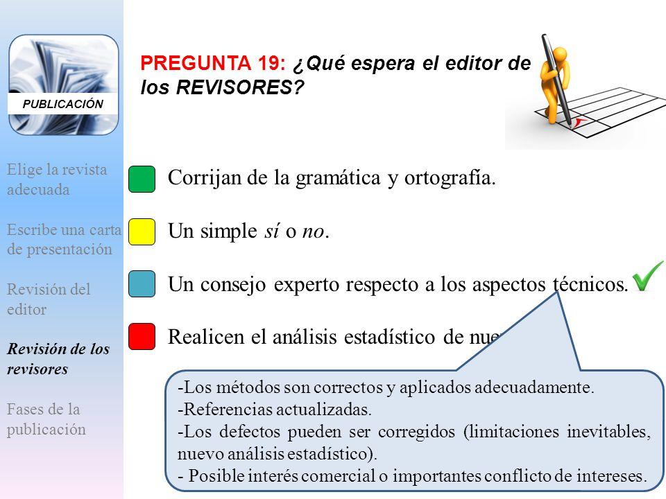PREGUNTA 19: ¿Qué espera el editor de los REVISORES? A.Corrijan de la gramática y ortografía. B.Un simple sí o no. C.Un consejo experto respecto a los