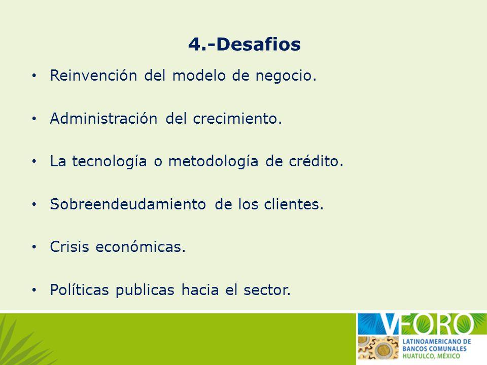 4.-Desafios Reinvención del modelo de negocio. Administración del crecimiento. La tecnología o metodología de crédito. Sobreendeudamiento de los clien