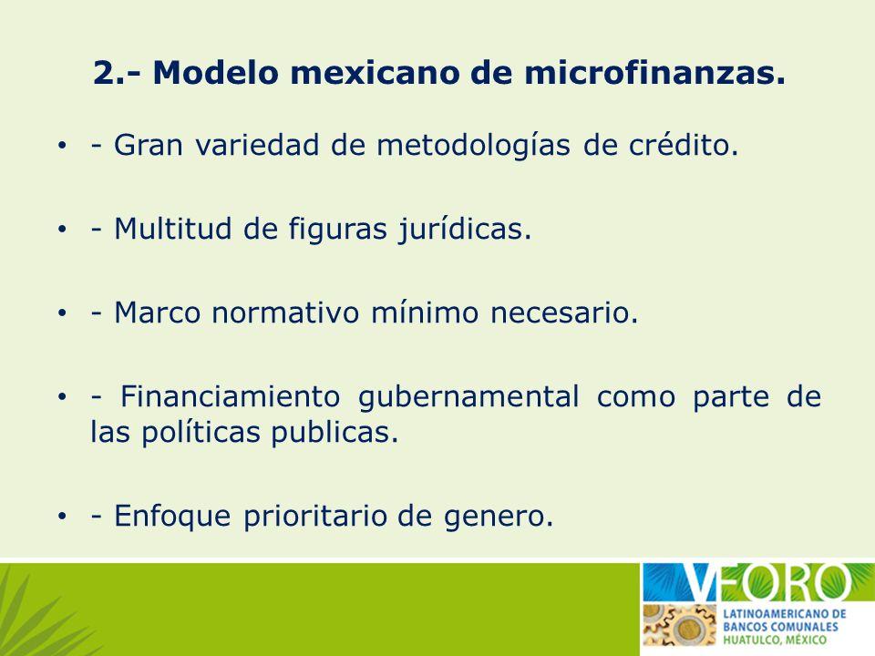 2.- Modelo mexicano de microfinanzas. - Gran variedad de metodologías de crédito. - Multitud de figuras jurídicas. - Marco normativo mínimo necesario.