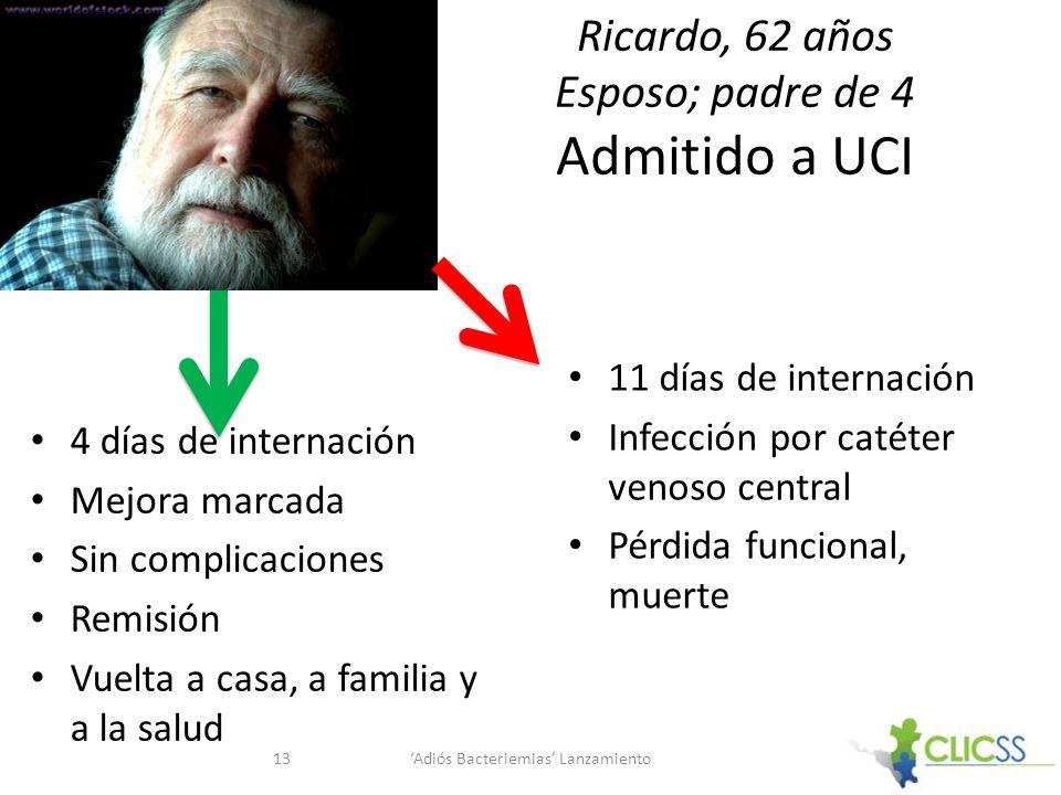 Ricardo, 62 años Esposo; padre de 4 Admitido a UCI 4 días de internación Mejora marcada Sin complicaciones Remisión Vuelta a casa, a familia y a la sa
