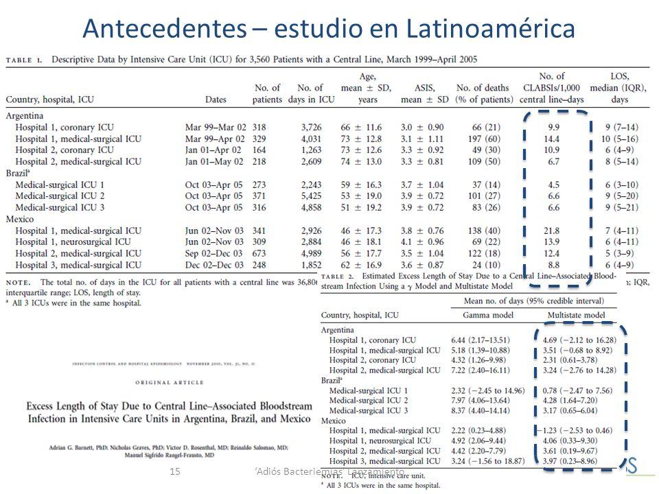 Antecedentes – estudio en Latinoamérica Adiós Bacteriemias Lanzamiento15