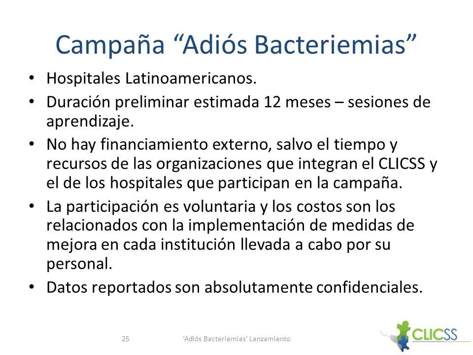 Campaña Adiós Bacteriemias Hospitales Latinoamericanos. Duración preliminar estimada 12 meses – sesiones de aprendizaje. No hay financiamiento externo