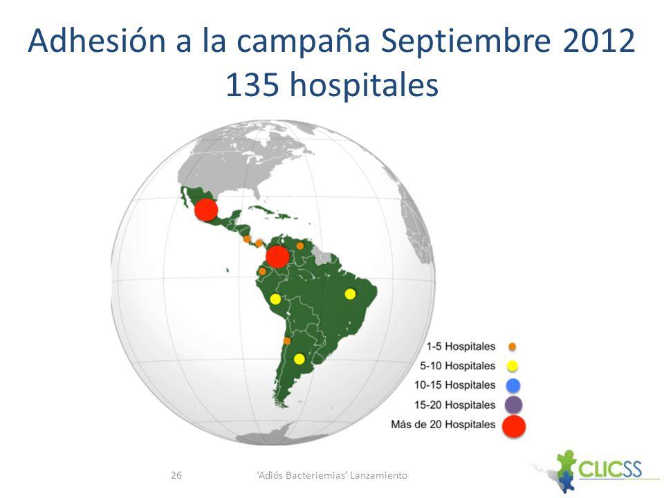 Adiós Bacteriemias Lanzamiento26 Adhesión a la campaña Septiembre 2012 135 hospitales